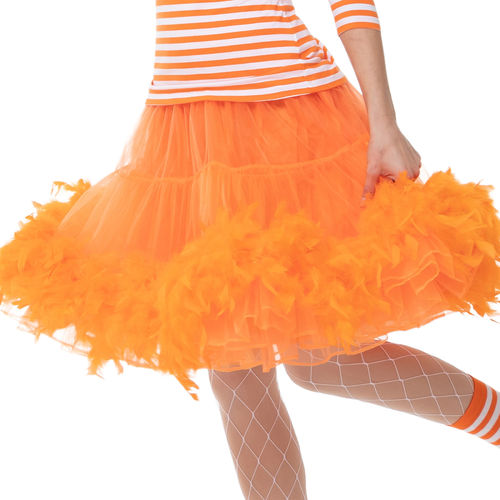 Petticoat Burlesque mit Federn, orange
